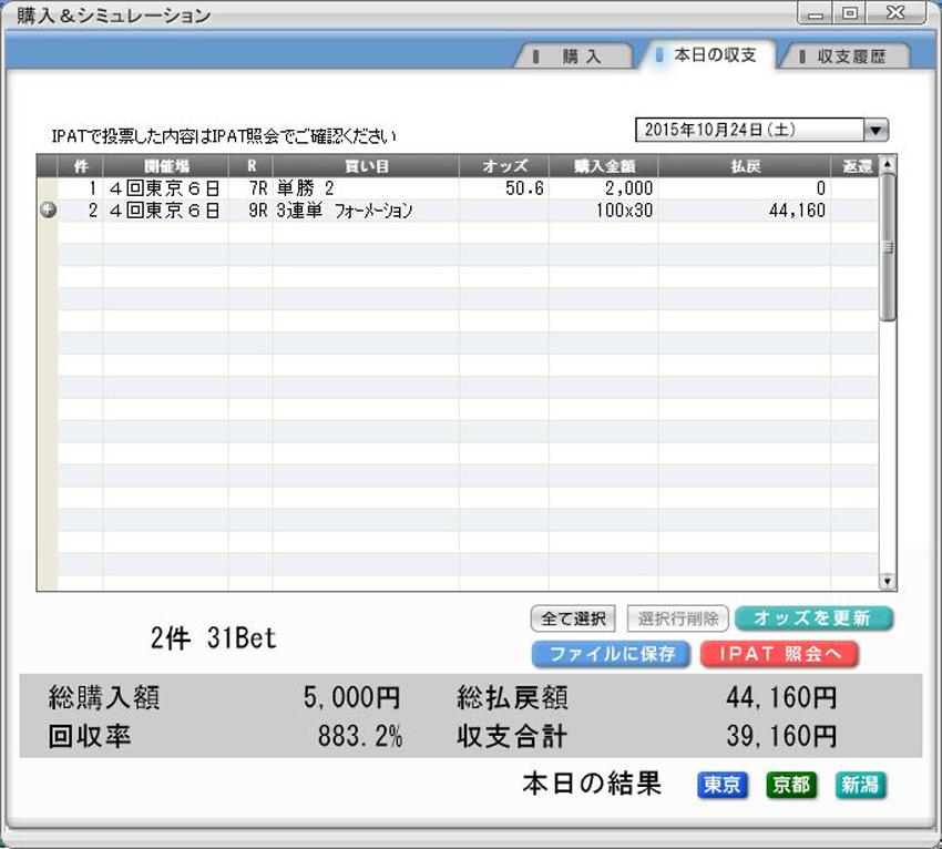 JRA-VAN NEXTの収支画面